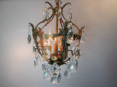 "Vintage Antique Spanish Brass Petite Chandelier Ornate French Bird Cage 33"" L"