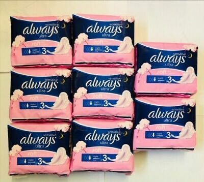 4 X Always Sensitive Sanitary Towels Soft Like Cotton Night Ultra Wings 7's X 4