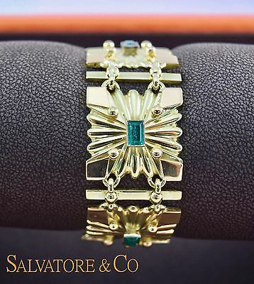 Vintage 18K Yellow Gold Green Emerald Bracelet Matching Pin 4.65 Carat Medieval