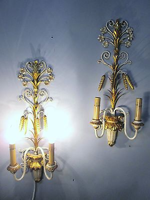 """Vintage Antique Pair Italian Tole Wheat Gold Gilt Wall Sconce Lights  22"""" x 9"""""""