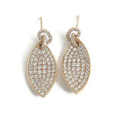Micro Pave Diamond Leaf Hanging Dangle Earrings In 18k Pink Rose Gold 2 26 Ctw