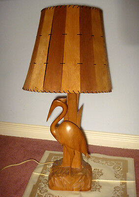 VINTAGE WOOD CARVED *HERON* TABLE LAMP & MATCHING SHADE by artist CARON QUEBEC
