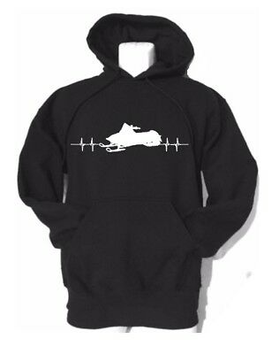 """Youth AND ADULT unisex custom hooded sweatshirt """"Snowmobile with heartbeat line"""""""
