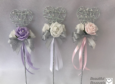 PINK Wedding Flowers Ivory Rose Bouquet, Bride, Bridesmaids,flower -Girl wands