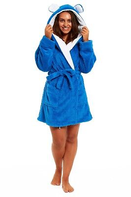 Women's new thick fluffy fleece dressing gown with belt ears on hood BNWT S-XL