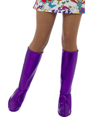 Womens GoGo Dancer Girl Purple Boot Covers Costume Accessory