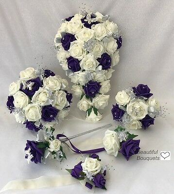 Wedding bouquets Flowers Ivory Rose purple, Bride, Bridesmaid, Flower-Girl Wand