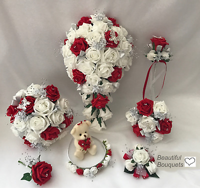 Wedding Bouquets RED Butterfly flowers Bride Bridesmaid Flower Girl Wand