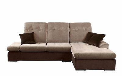 MODERN MICROFIBER SECTIONAL Sofa With Chaise - L Shape Couch (Brown /  Hazelnut)