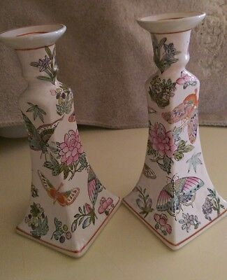 """Pair Vintage Chinese Butterfly Porcelain 8.75"""" Candle Sticks Holders"""