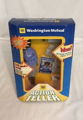 Washington Mutual Action Teller Doll Black W Outfit Trading Card