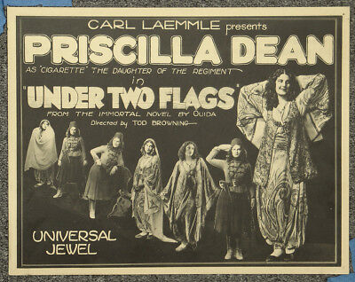 Under Two Flags '22 Tod Browning Priscilla Dean Orig Silent Title Lobby Card