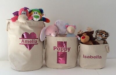 Children's toy box - personalised storage bag- girls or boys Christmas toy tub