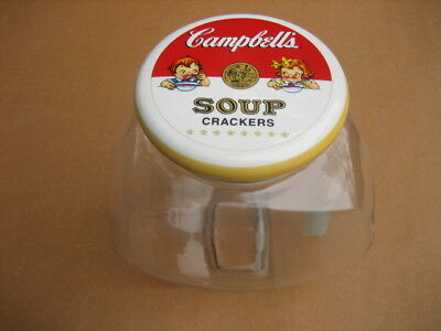1999 Campbell's Soup Crackers Cookie Jar  With Lid Anchor Hocking New Glass