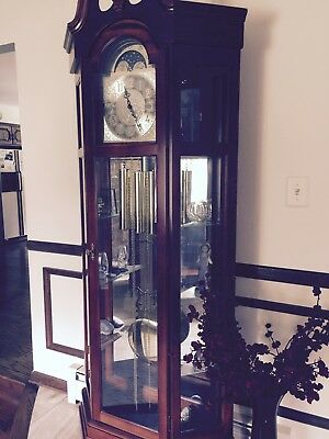 Ridgeway 9106 Triple Chime Traditional Grandfather Click W Moon Arch