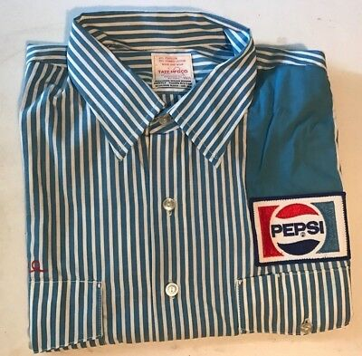 Vintage Pepsi Cola Delivery Truck Driver Pin Striped Uniform w/ Patches *Unused*