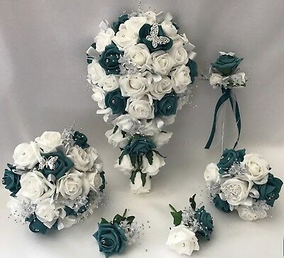 Wedding Flowers Ivory Rose Teal posy Bouquet Bride, Bridesmaid, Flower-Girl Wand