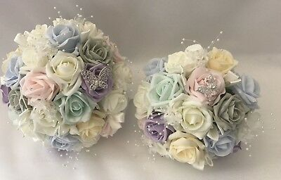 Wedding Flowers Ivory Rose pastel Bouquet, Bride, Bridesmaid, Flower-Girl Wand
