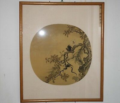 Rare Antique Chinese Fan Original Painting on Silk Monkeys on a Tree