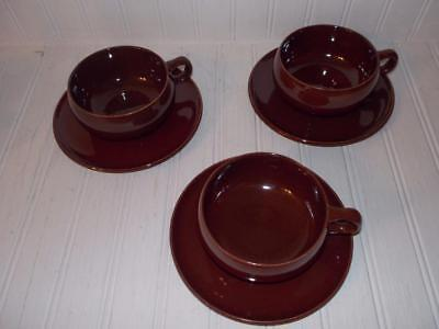 Steubenville Pottery Russel Wright American Modern Cup & Saucers 3 Sets Brown