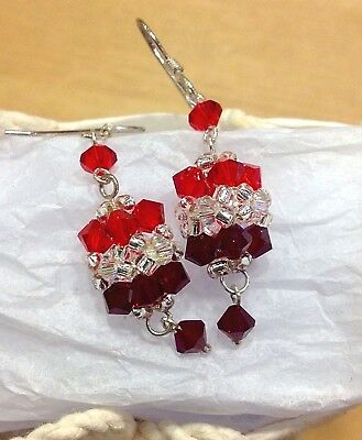 Fair Trade Crystal Cluster Dangle Pierced Earrings Thailand Red Wine CoLour New
