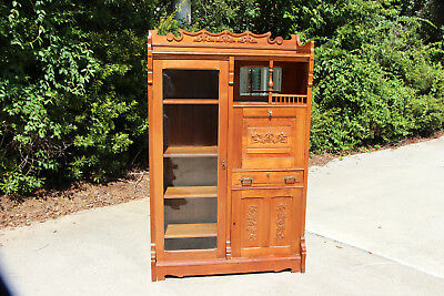 Walnut Victorian Side by Side Secretary Desk Bookcase w Beveled  Mirror Gallery