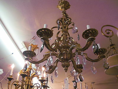 Antique French 6 Lights Bronze With Crystals Chandelier ( Heavy )