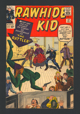 """RAWHIDE KID #37 """"1963"""". 1st App. of The RATTLER. Cover Art by Jack Kirby."""