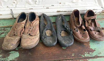 Antique Vintage lot Children's Shoes Three Pair Lace Up And Button Girls/Boys