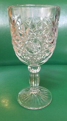(1) Starburst Fans and Hobstar Diamond Pressed Glass Clear Goblet In Mint Cond.