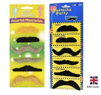STICK ON FALSE MOUSTACHES Fancy Dress Fake Moustache Tash Tashes Mexican lot UK
