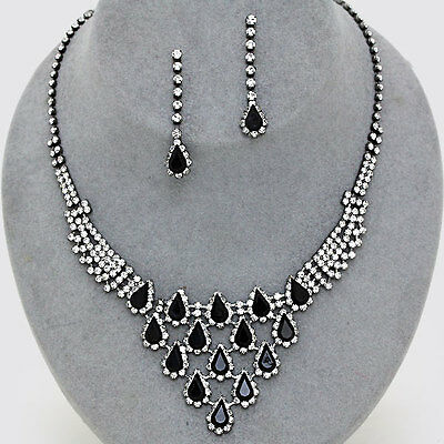 Formal Wedding Pageant Hematite Black & Clear Crystal Drop Fashion Necklace Set