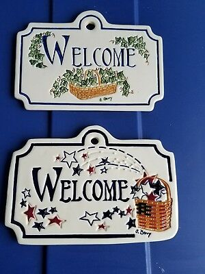 longaberger set of 2 welcome signs