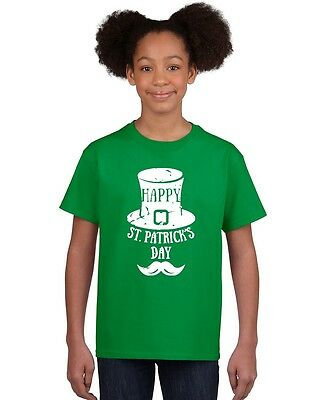 Happy St Patricks Day mustache Youth T-shirt St. Patrick's Day funny kids tee