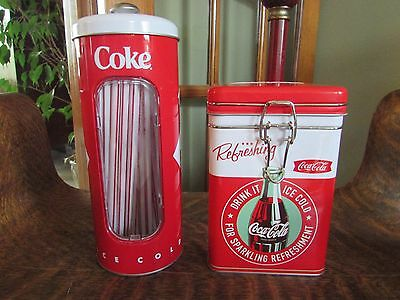 "Coca Cola Covered Tin ""ice Box"" Style, And Coca Cola Straw Dispenser"