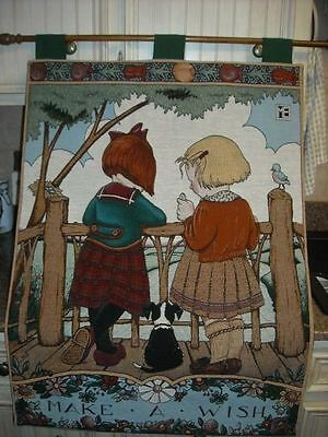MAKE-A-WISH ~ Mary Engelbreit TAPESTRY WALL HANGING WITH HARDWARE AND ROD *