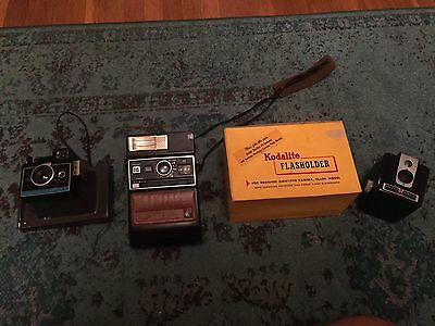 Vintage Camera Package: Kodak Brownie Hawkeye With Flash In Original Box