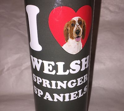 I Heart Love Welch Springer Spaniels Metal Water Bottle Dog Lovers New