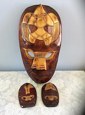 Wooden Tribal Mask Wall Hanging