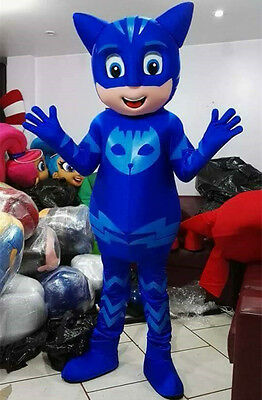 PJ MASK Blue Catboy Red Green Mascot Costume Adult Size High Quality