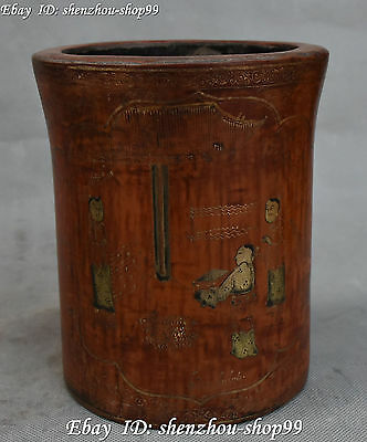 Marked China Wood lacquerware People Man Pen Holder Brush Pot Pencil Case Statue
