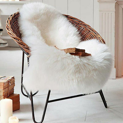 Fur Soft Fluffy Wool 2-in-1 Chair Seat Cover Carpet Pad Plain Mat White