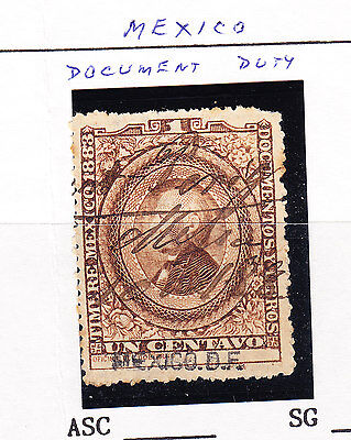 Mexico -1883  - 1c Brown Document Stamp