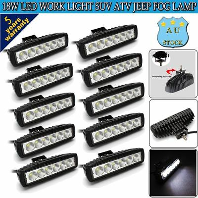 10x 18W 6INCH LED WORK LIGHT BAR OFFROAD FLOOD DRIVING AUTO TRUCK UTE 12V LAMP 7