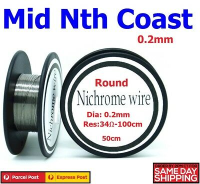 Ni-Chrome Resistance Wire 0.2mm 34-Ohm/Mtr Round Wire for Heater Elements 50cm