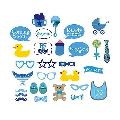 29pcs Party Props Photo Booth Funny Selfie Kit Set Boy Baby Shower Event Party