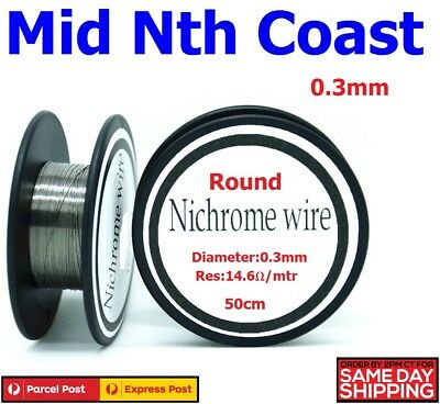 Ni-Chrome Resistance Wire 0.3mm 14.6-Ohm/Mtr Round Wire for Heater Elements 50cm