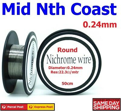 NiChrome Resistance Wire 0.24mm 22.3-Ohm/Mtr Round Wire for Heater Elements 50cm