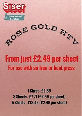 A4 sheets Siser Easyweed Electric HTV  ROSE GOLD- Iron On - Heat Transfer Vinyl