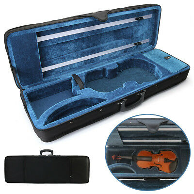 Black 4/4 Full Size Oblong Shape Violin Carry Box Hard Case with Cushioning